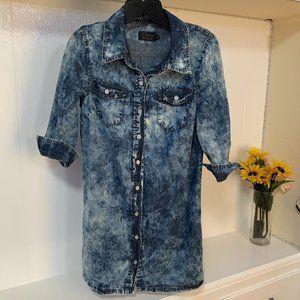 Ci sono Mineral Wash Denim Shirt dress sz S